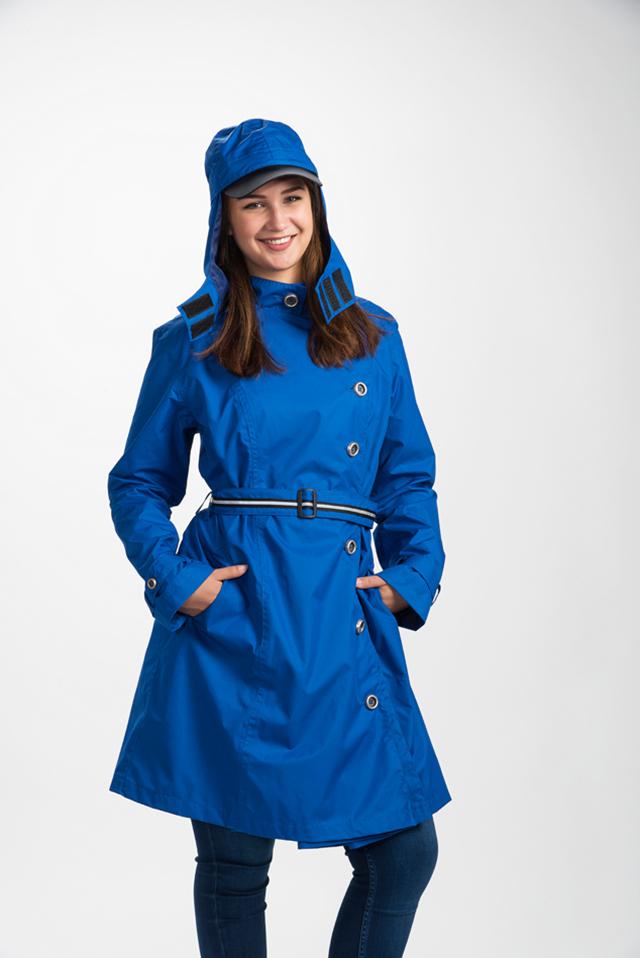 blauwe dames regenjas lang model