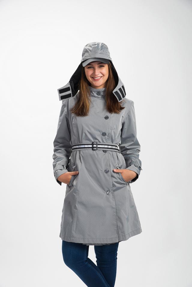 capcoat lange regenjas grijs